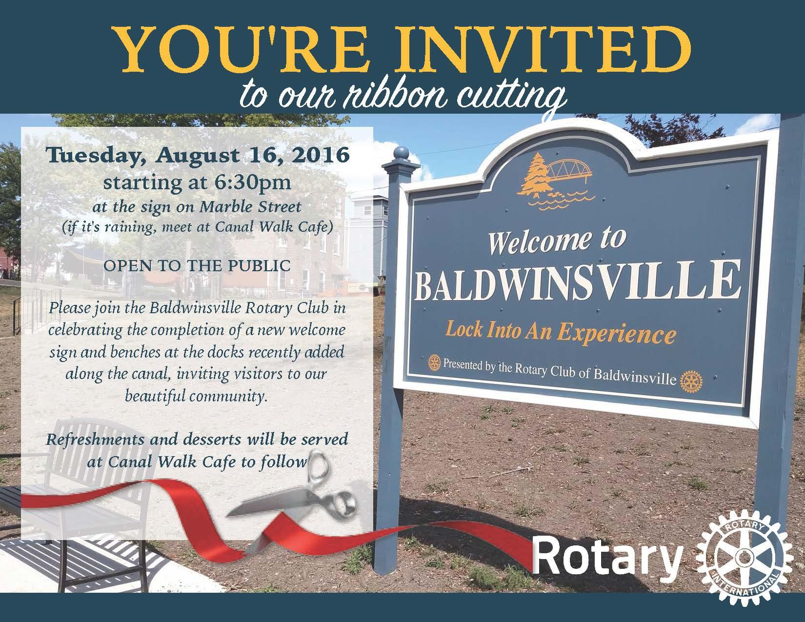 invitation to ribbon cutting for new sign and benches along erie canal, baldwinsville, ny