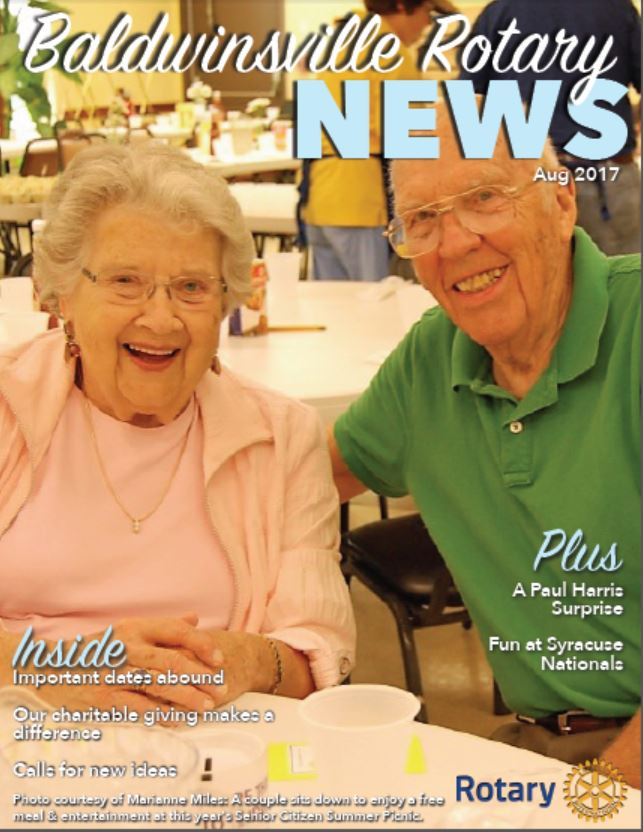 newsletter cover of august 2017 edition of Baldwinsville Rotary Club monthly newsletter