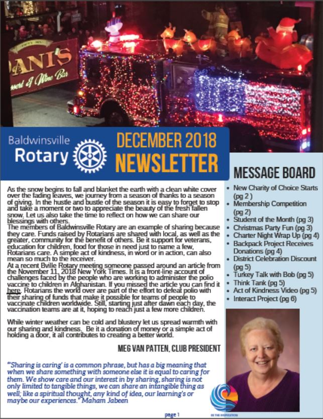 baldwinsville rotary club monthly newsletter december 2018 cover image