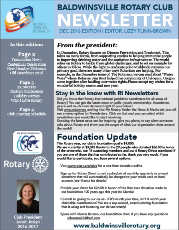 rotary club of baldwinsville monthly newsletter cover for december 2016