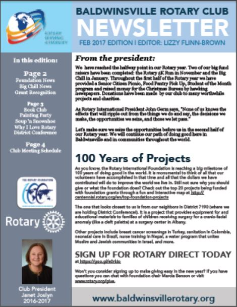 baldwinsville rotary's monthly club newsletter for february 2017