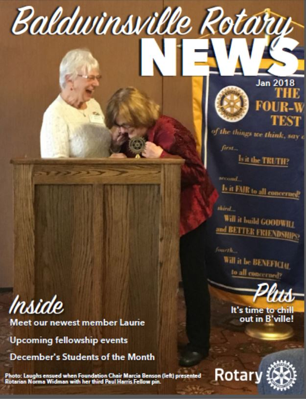 baldwinsville rotary club monthly newsletter, january 2018 edition