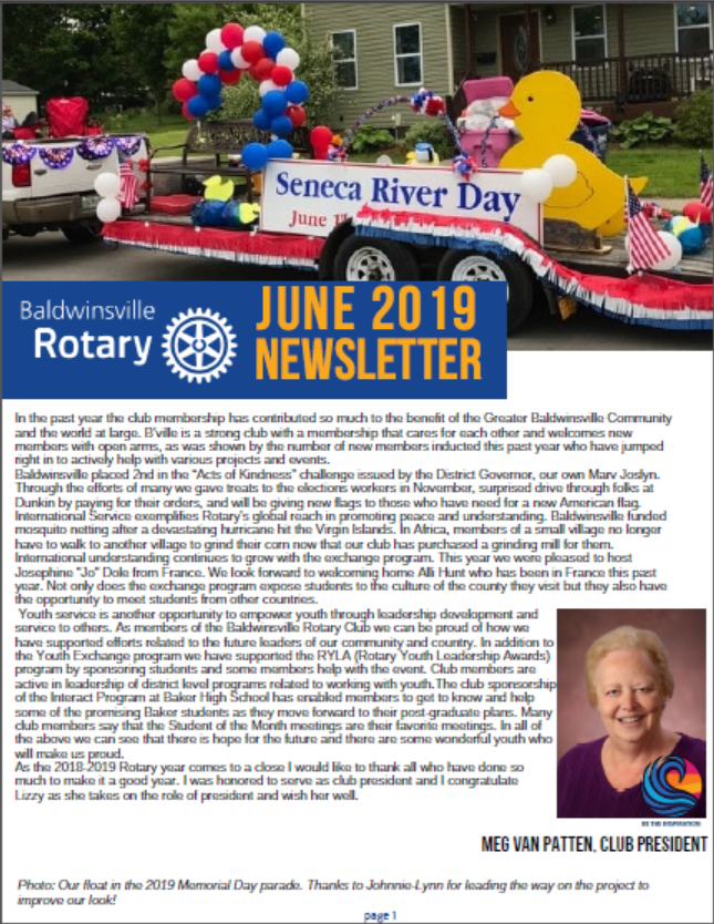 baldwinsville rotary club newsletter cover image june 2019
