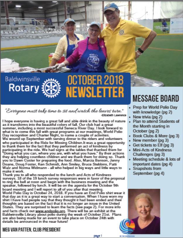 baldwinsville rotary newsletter cover october 2018