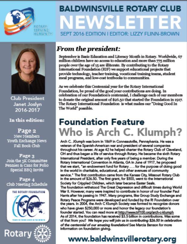 baldwinsville rotary club september newsletter cover