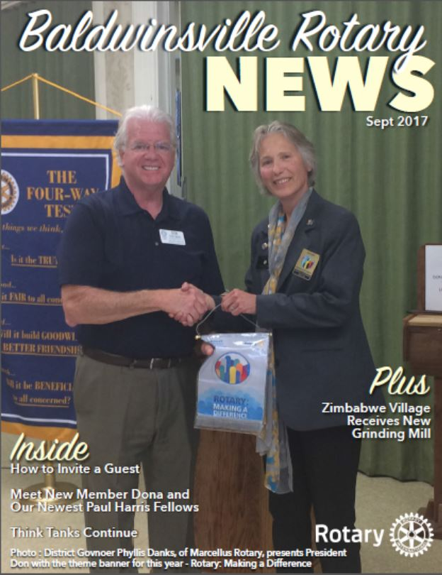 september newsletter cover for baldwinsville rotary featuring district 7150 governor phyllis danks and club president don distasio