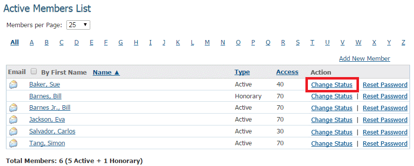 to set a member as inactive click change status in the action column on the same row as their name