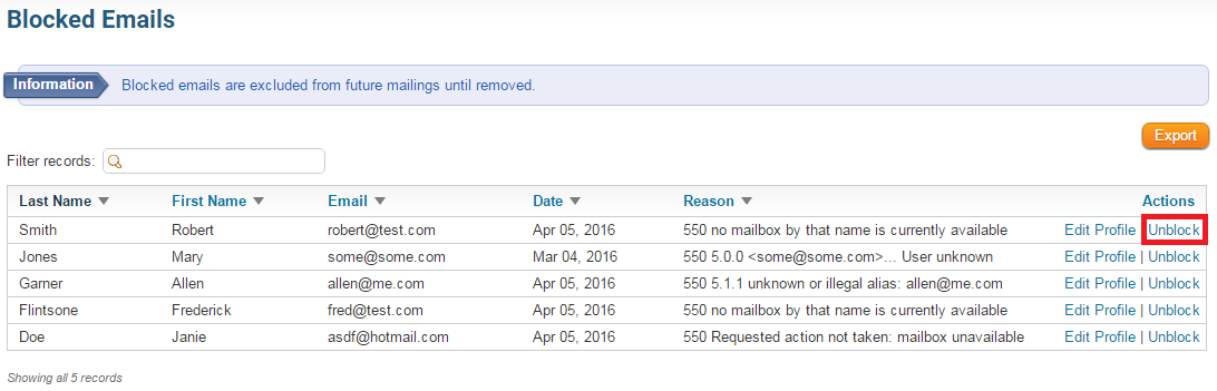 How do I remove emails from the blocked email list