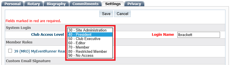 Changing a Member's Access Level - ClubRunner Support Center