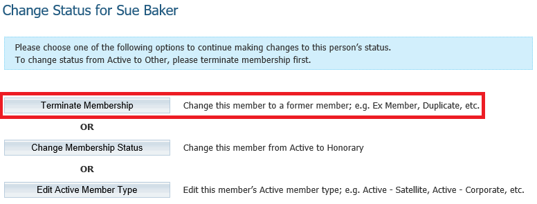 first enter the date the membership is to become inactive by default this is set to the current date however you can select a future or past date as