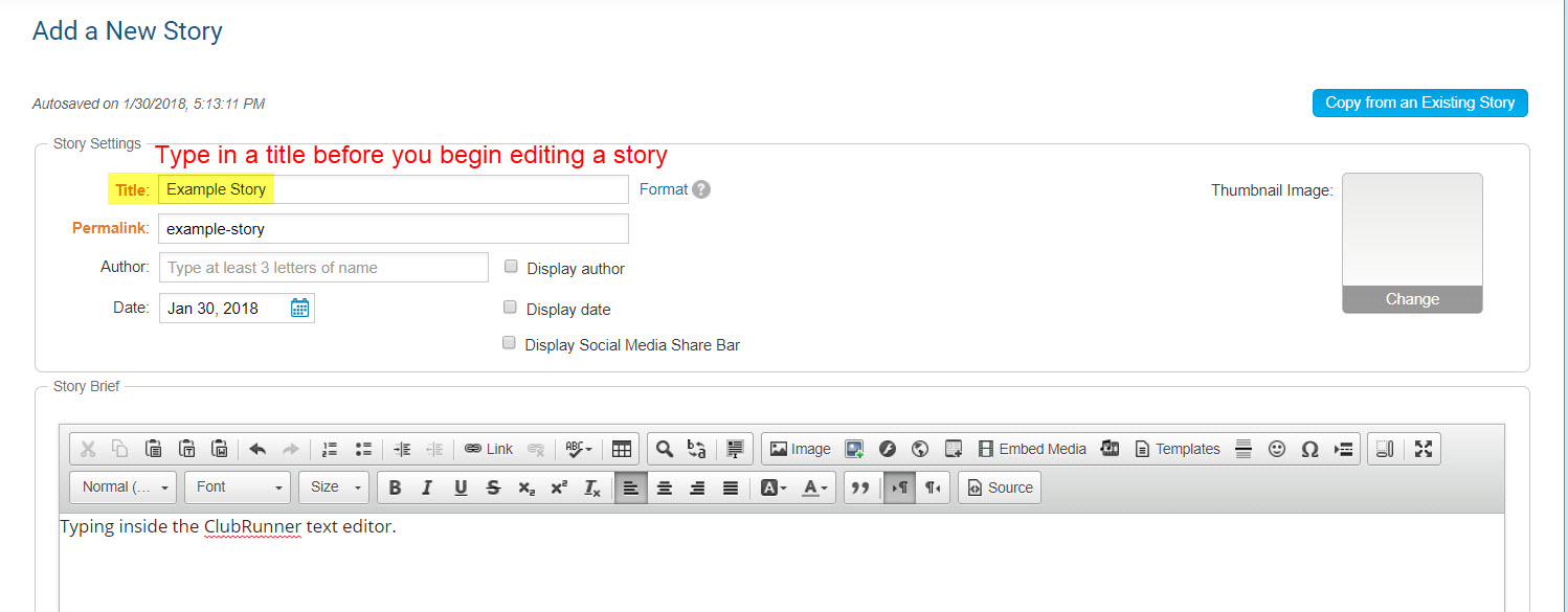 when creating content for a story a custom or site page or a custom widget its typically best to begin typing right inside clubrunner