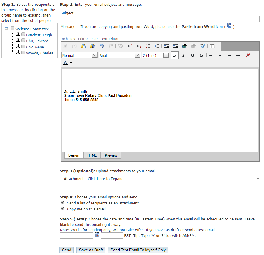How to Send Emails to Committee Members - ClubRunner Support