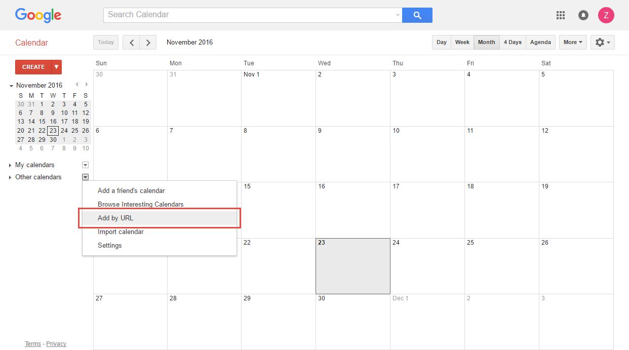 Gogle Calendar.Adding A Calendar Subscription With Google Calendar Clubrunner