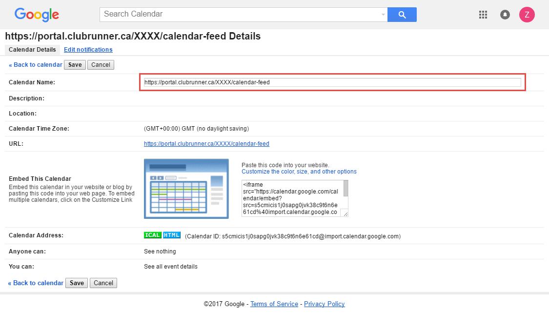 adding a calendar subscription with google calendar clubrunner