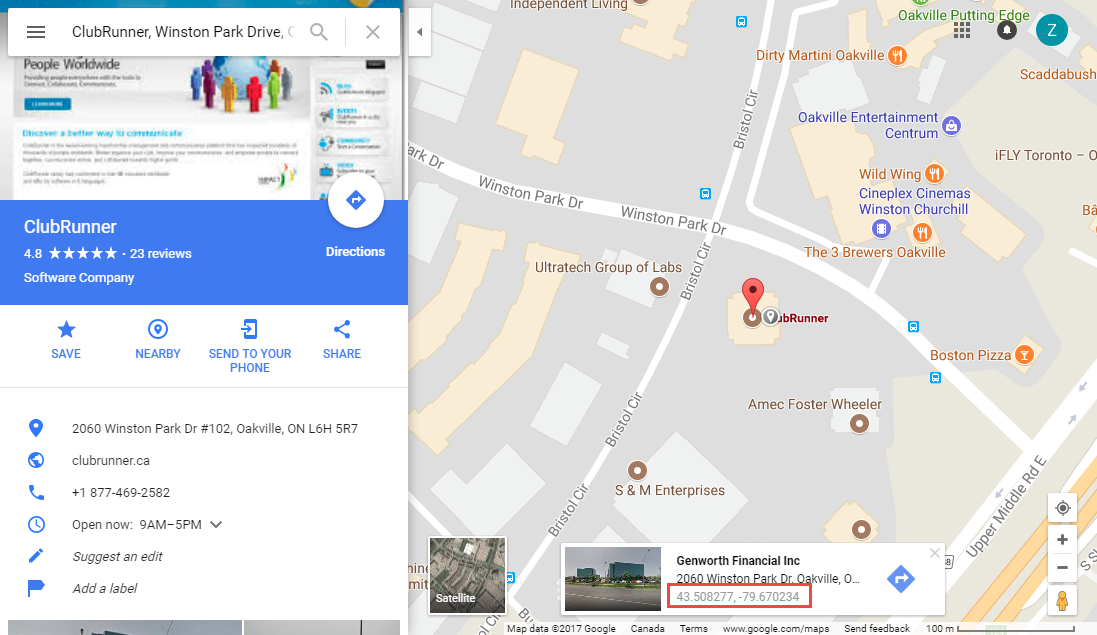 Picture of: How To Find A Location S Latitude Longitude In Google Maps Clubrunner Support Center