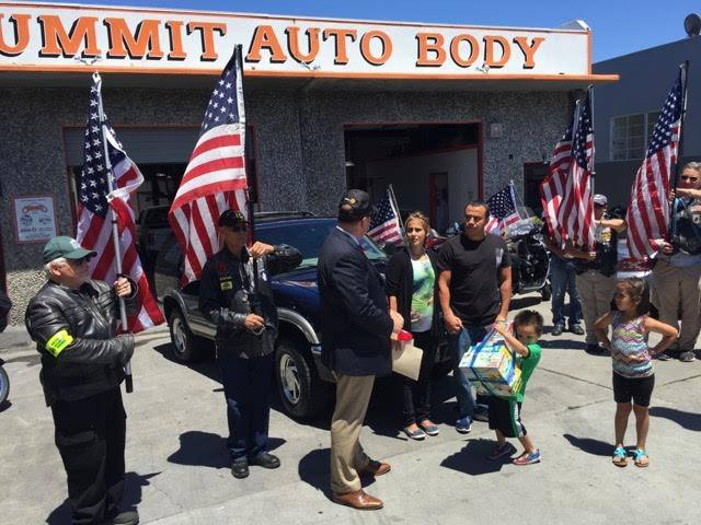 The Rojas Family, Belmont & Redwood Shores Rotary President Geoff Wiggs and The Patriot Guard