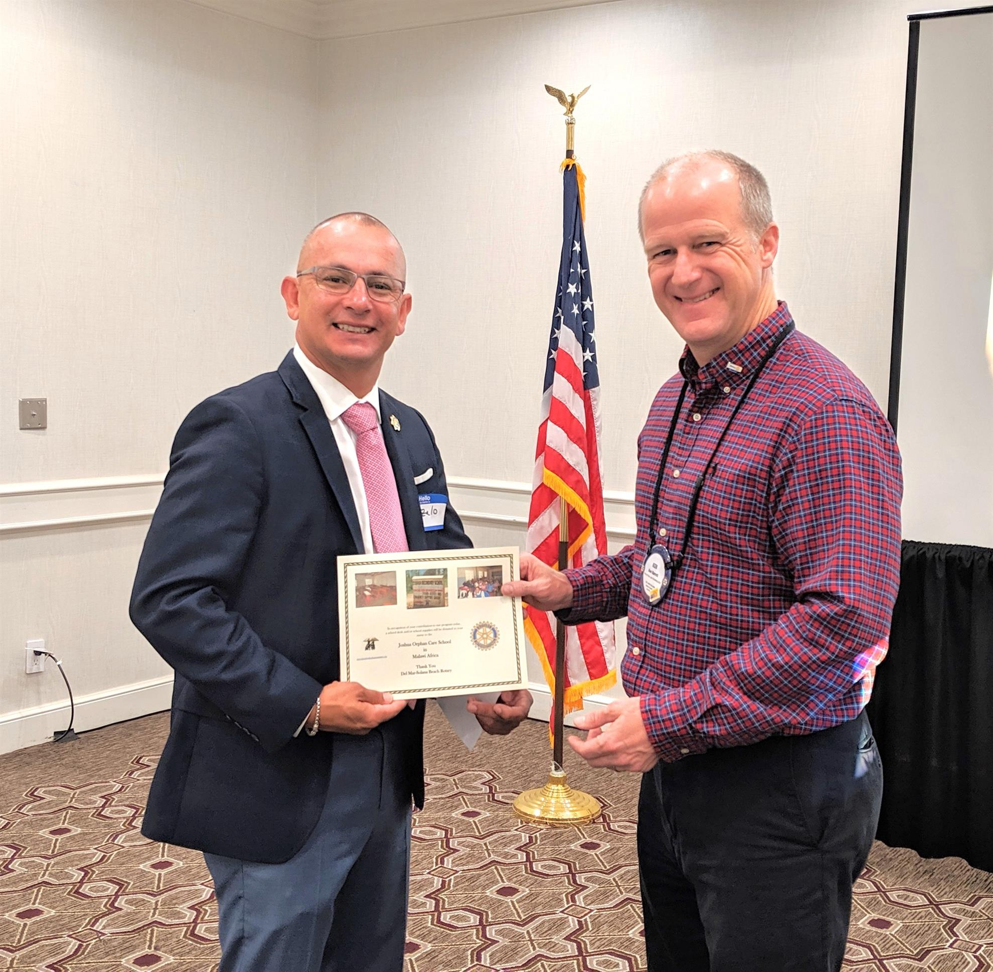 274599dbde In the end DMSB Club interim President Ken Barrett presented the speaker  with the Joshua certificate that represents our club DMSB donating school  supplies ...