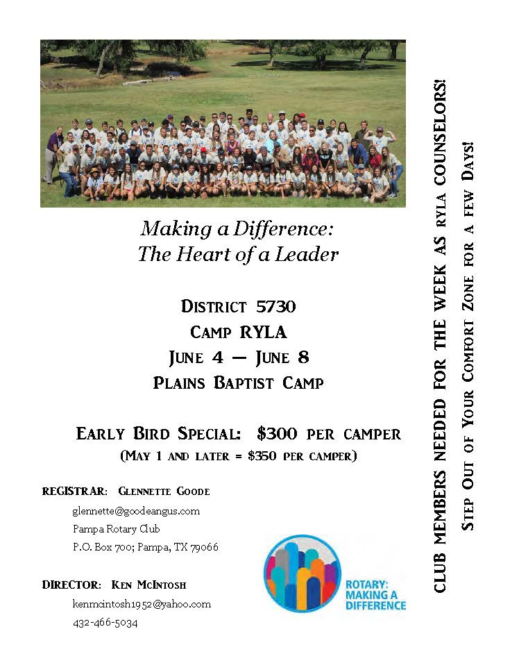 Camp RYLA 2018 information