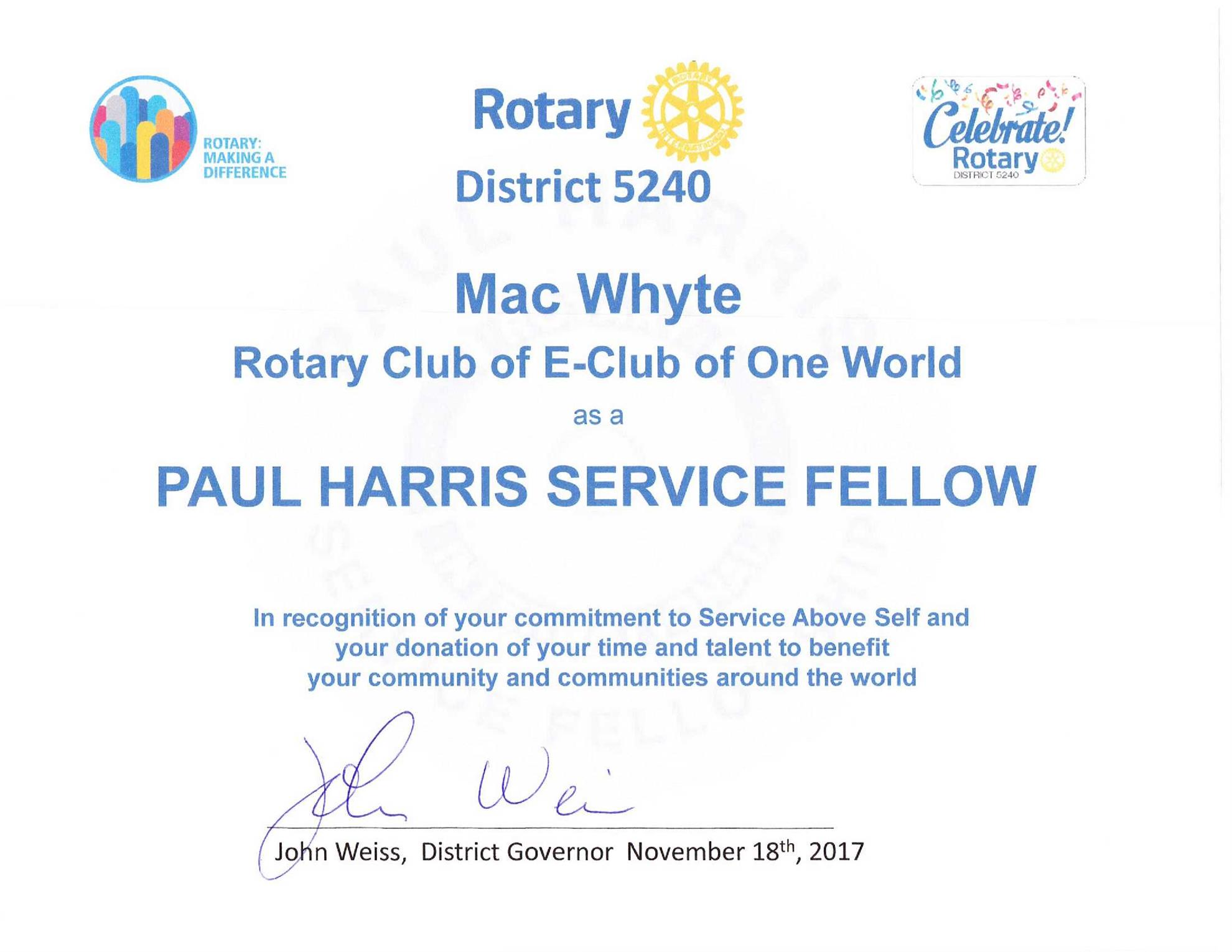 Stories rotary e club of one world d5240 we are rotarians making a difference buycottarizona Gallery