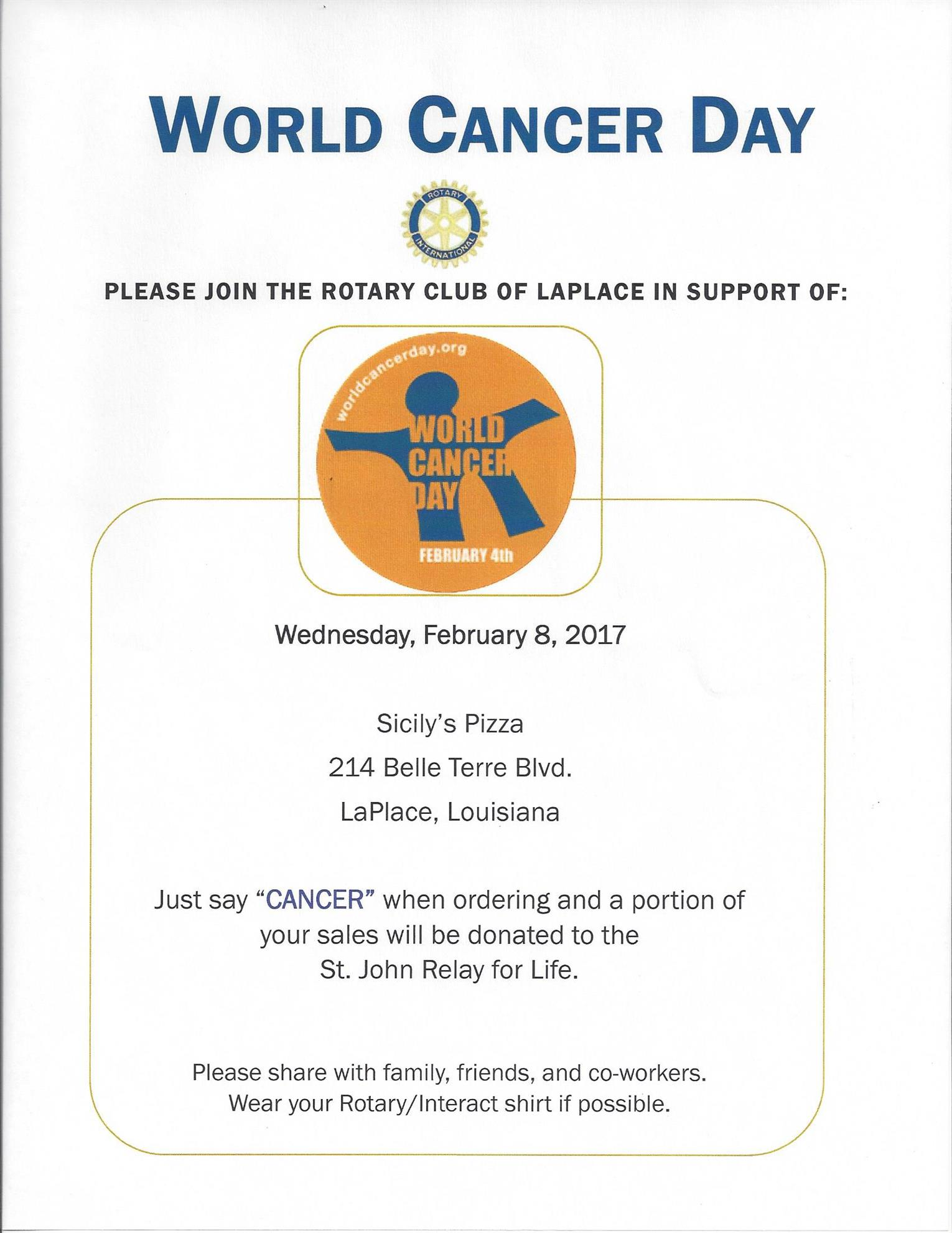 rotary club of laplace cancer day at sicily s rotary club of la place