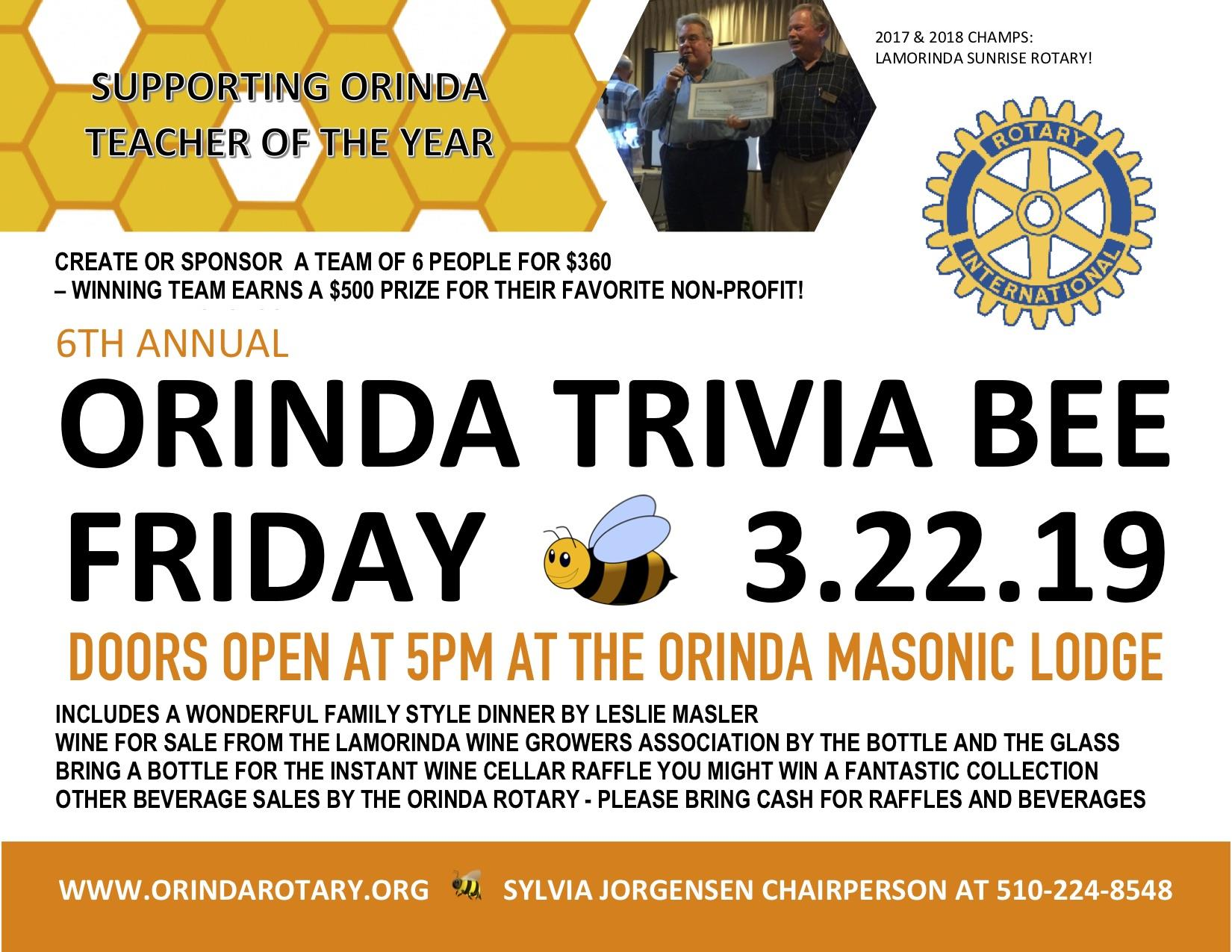 6th ANNUAL ROTARY TRIVIA BEE IS MARCH 22! | Rotary Club of Orinda