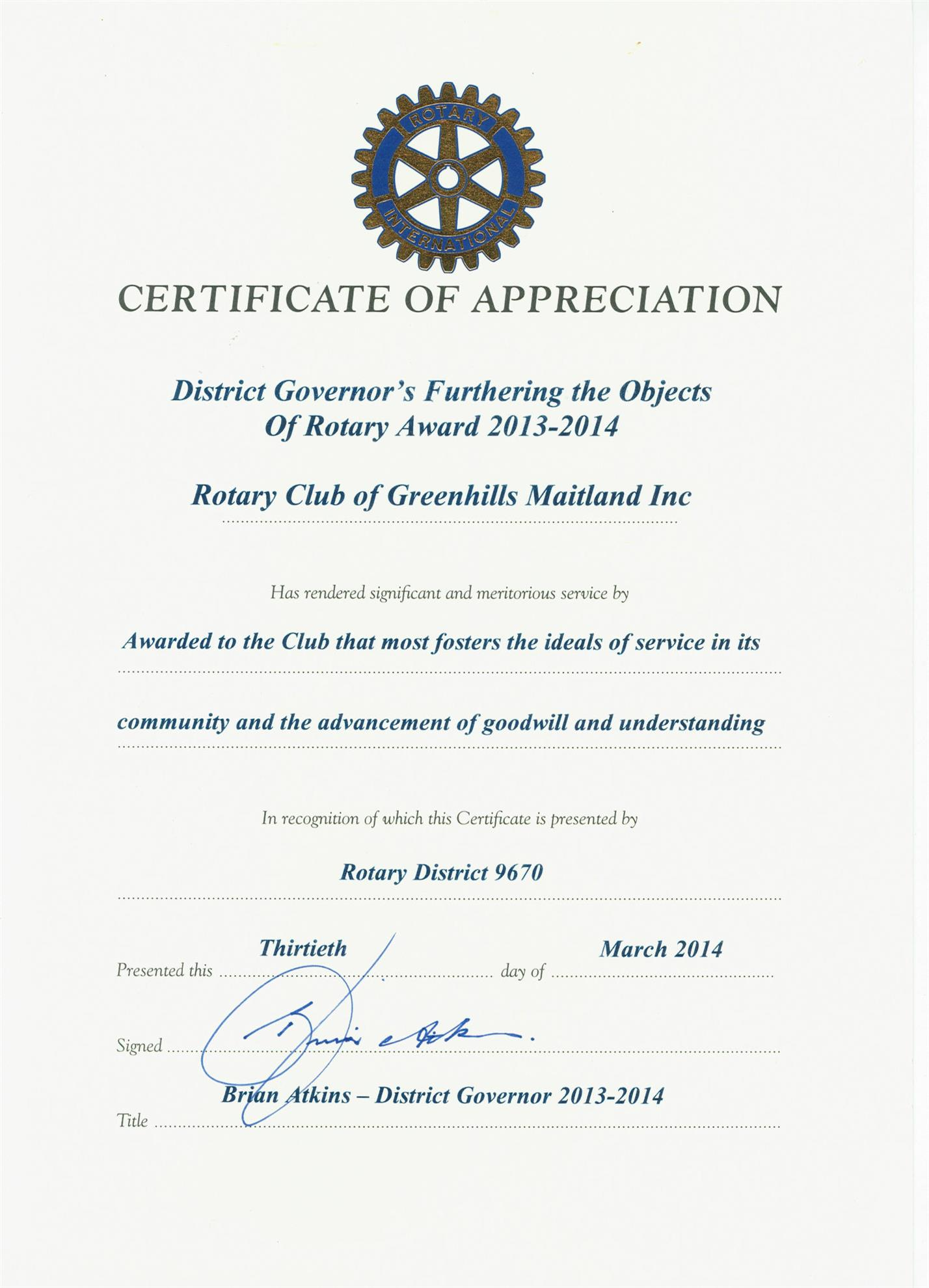 rotary certificate of appreciation template - certificate of appreciation gallery editable certificate