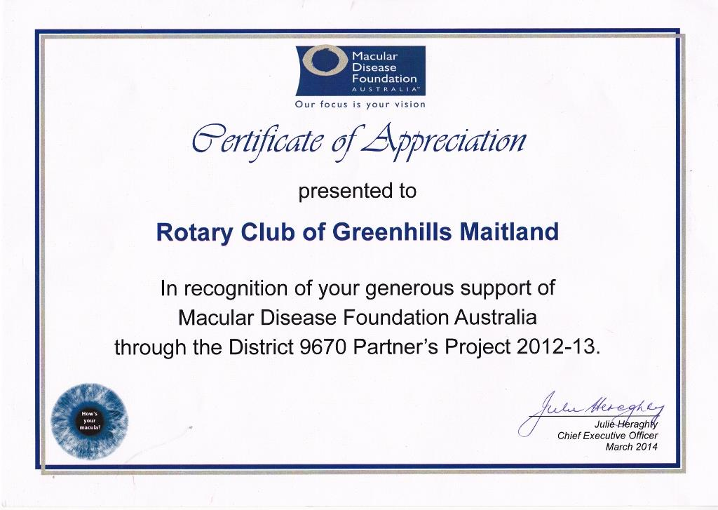 certificates of appreciation rotary club of greenhills maitland
