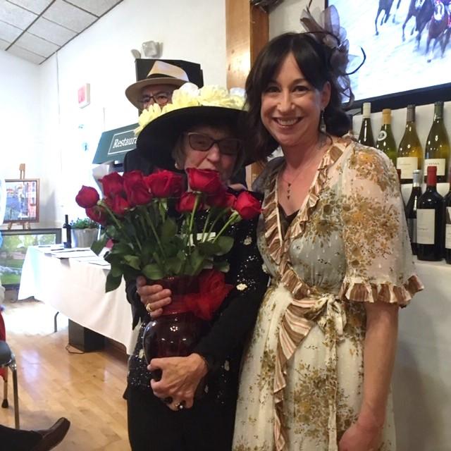 Paula, woman's hat winner and judge Wendy