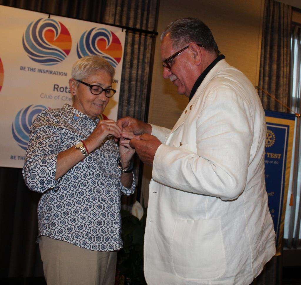 Director Jeanette McWilliams Receiving Her Director Pin from PP Bruce Mauch