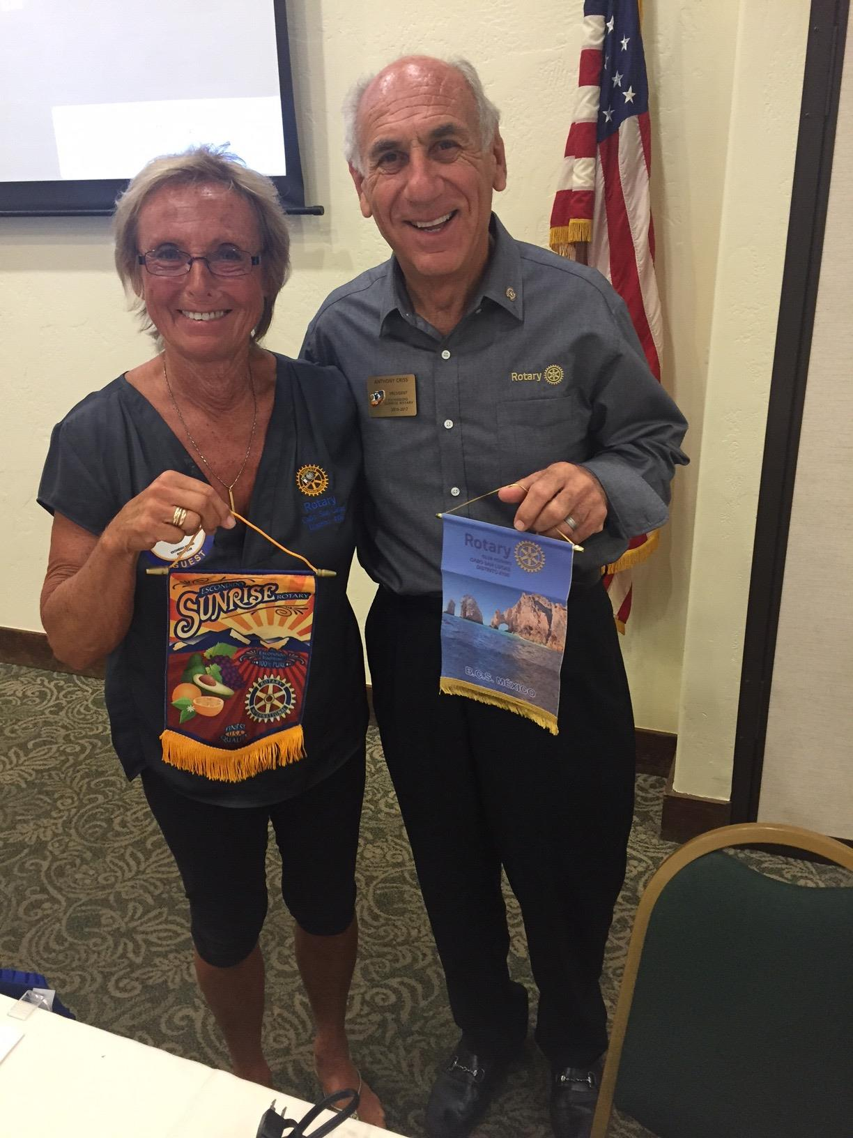 stories rotary club of escondido sunrise ardyth ruth was ing from the cabo san lucas club she brought a banner to exchange president tony