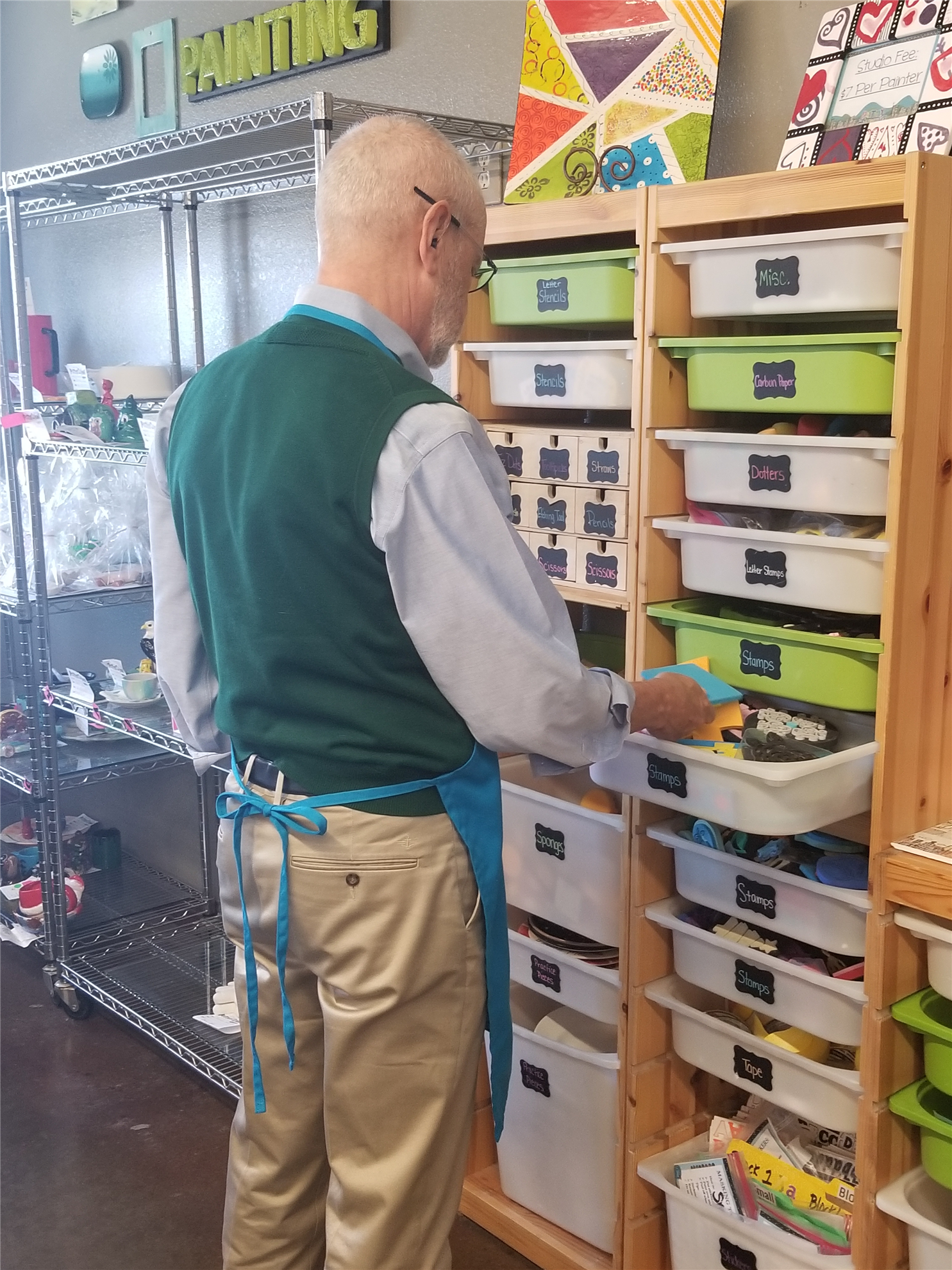 Richard browsing design options for his Empty Bowl.