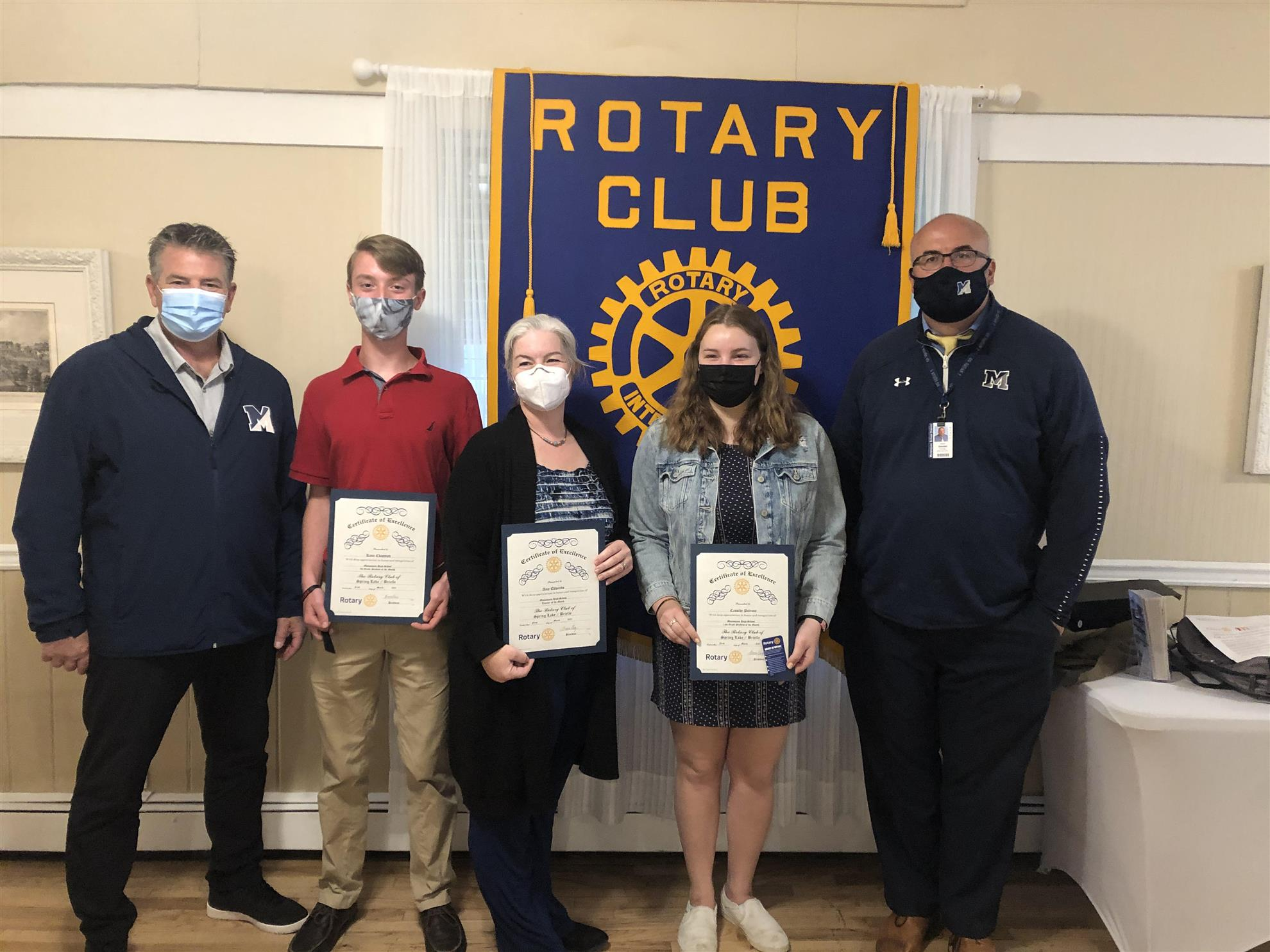 Mark Morro, Student of the Month Chairperson, Kane Chapman, Freshmen of the Month, Amy Edwards, Teacher of the Month, Cassidy Petrone, Senior of the Month, Robert Goodall, Principal of High School.