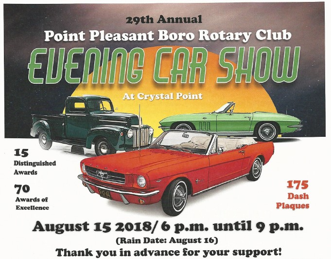 Pt Boro Rotary Th Annual Car Show Rotary Club Of Point Pleasant Boro - Classic car show tomorrow