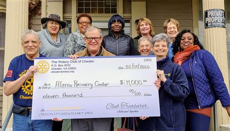 Chester & Prince George Rotary Get Alamo Addiction Recovery Center District Grant; 02-01-20