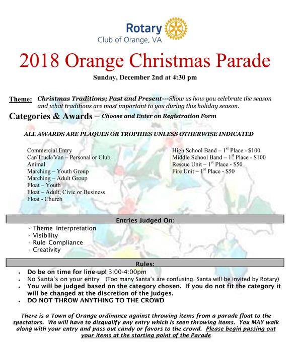 2017 Christmas Parade Entry Rules