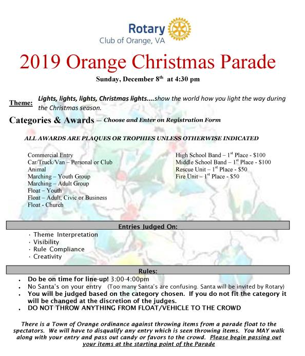 2019 Christmas Parade Entry Form - Page 1