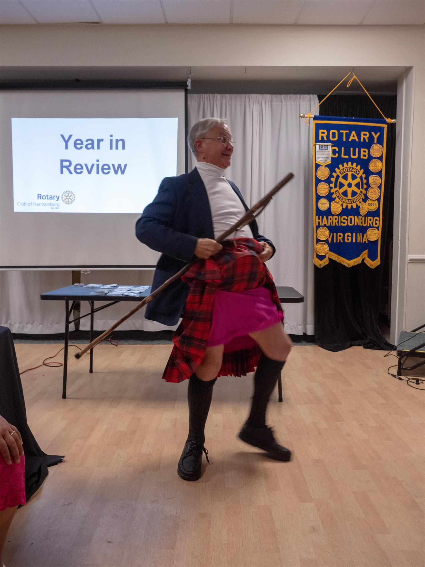 Club member Bill entertaining the Club with an interesting dance!