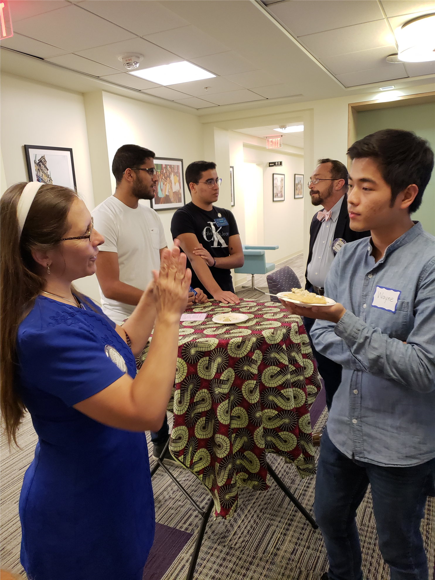 Club members getting to know the international students