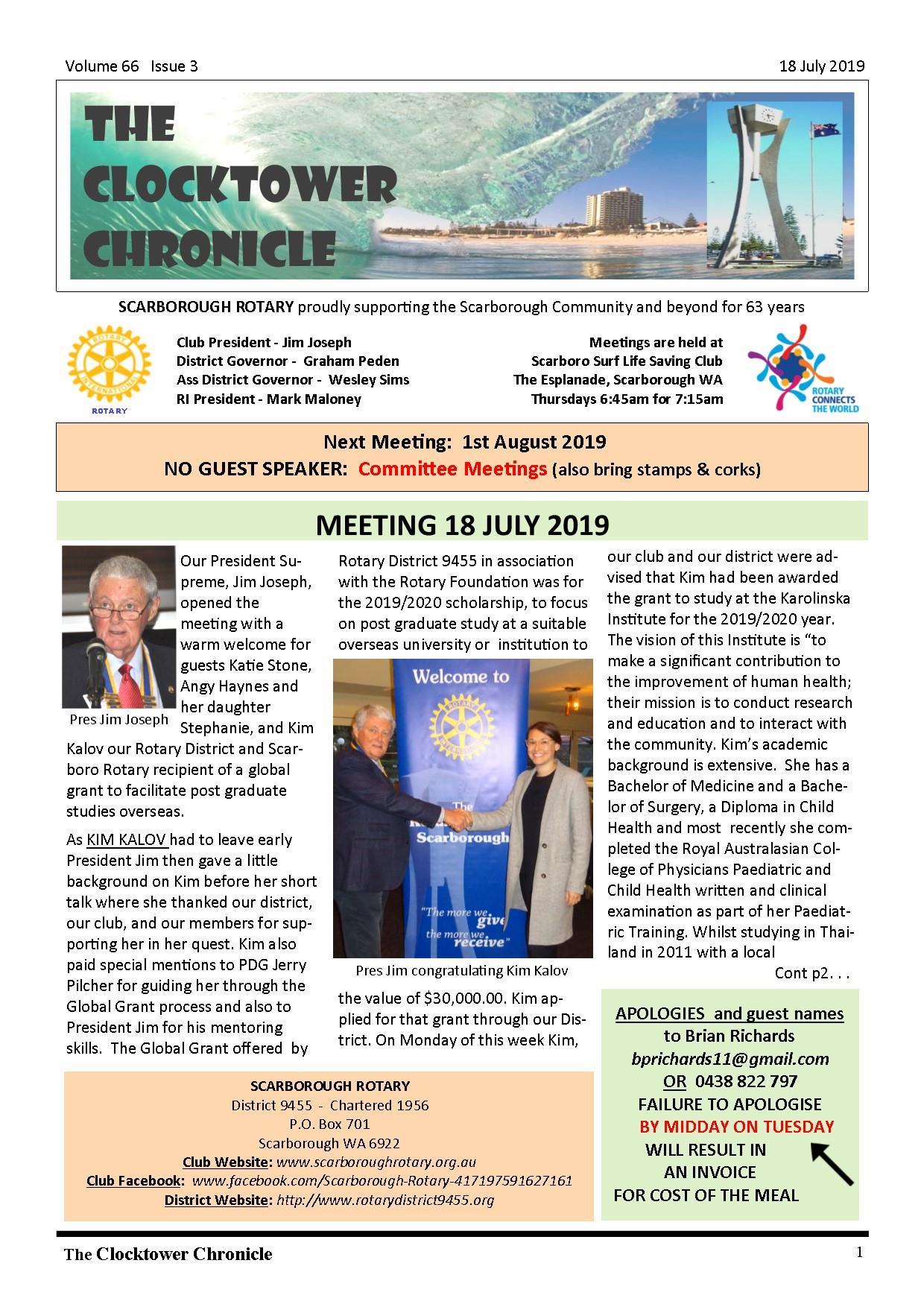 The Clocktower Chronicle Vol 66 Issue 3 (Jul 18, 2019)