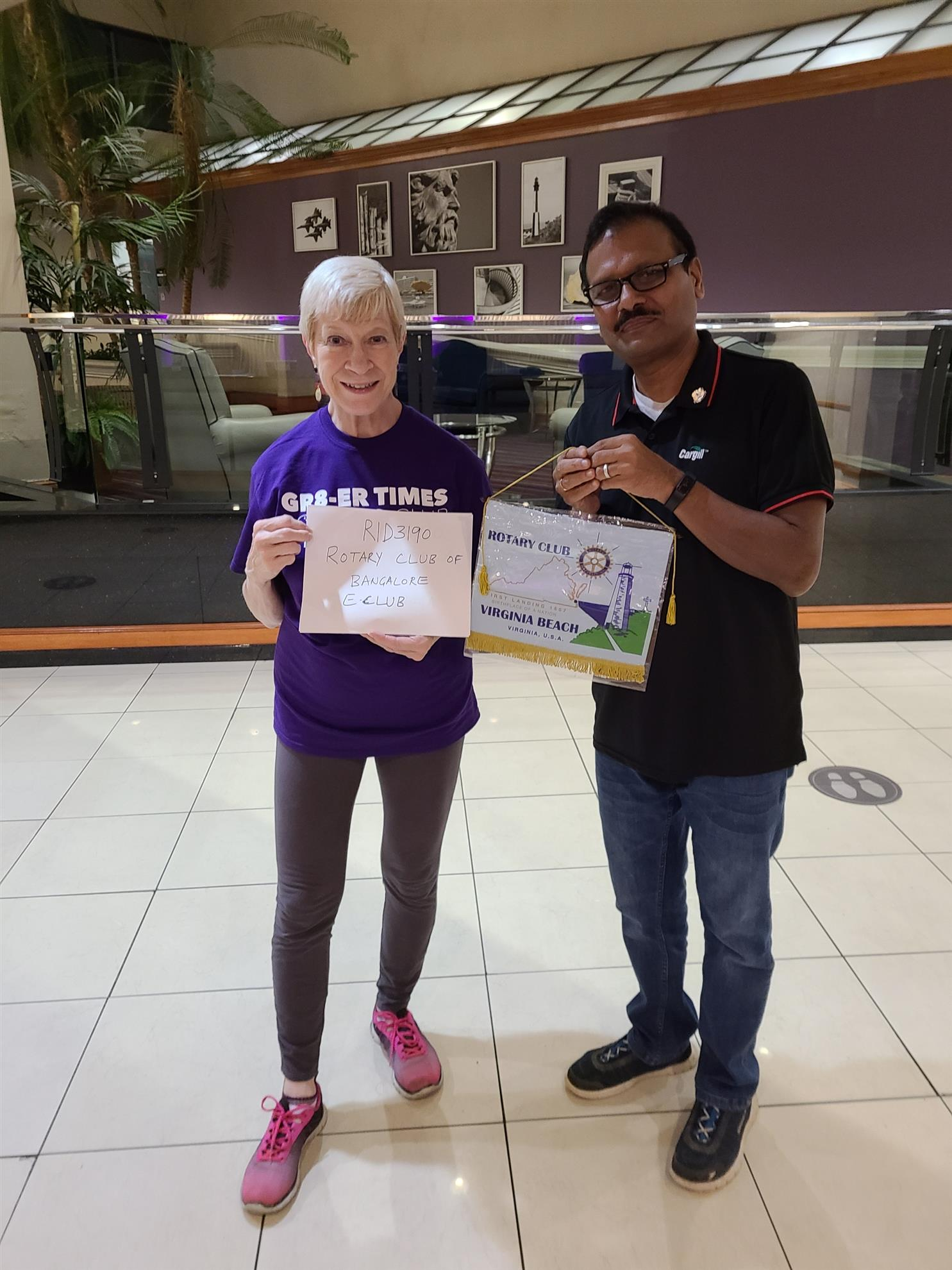 President Linda and AG Shankar of Rotary District 3190