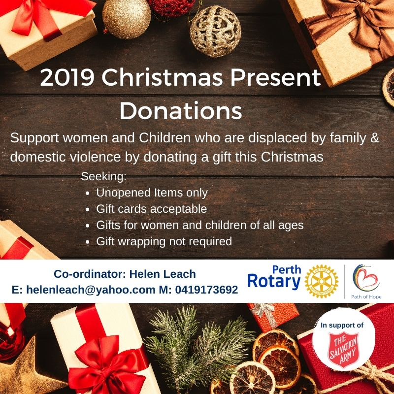 Perth Rotary Path Of Hope 2019 Christmas Present Donations Rotary Club Of Perth