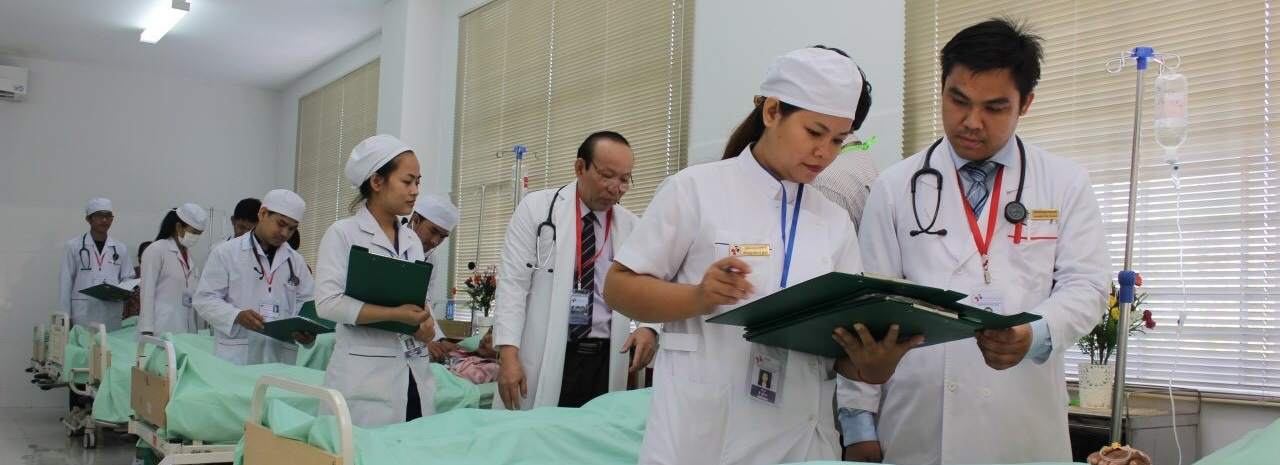 Beds in use in Cambodia hospital