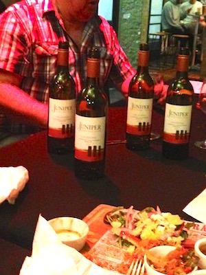 Club members at dinner  showing support for Wine Award winner Juniper Wines.