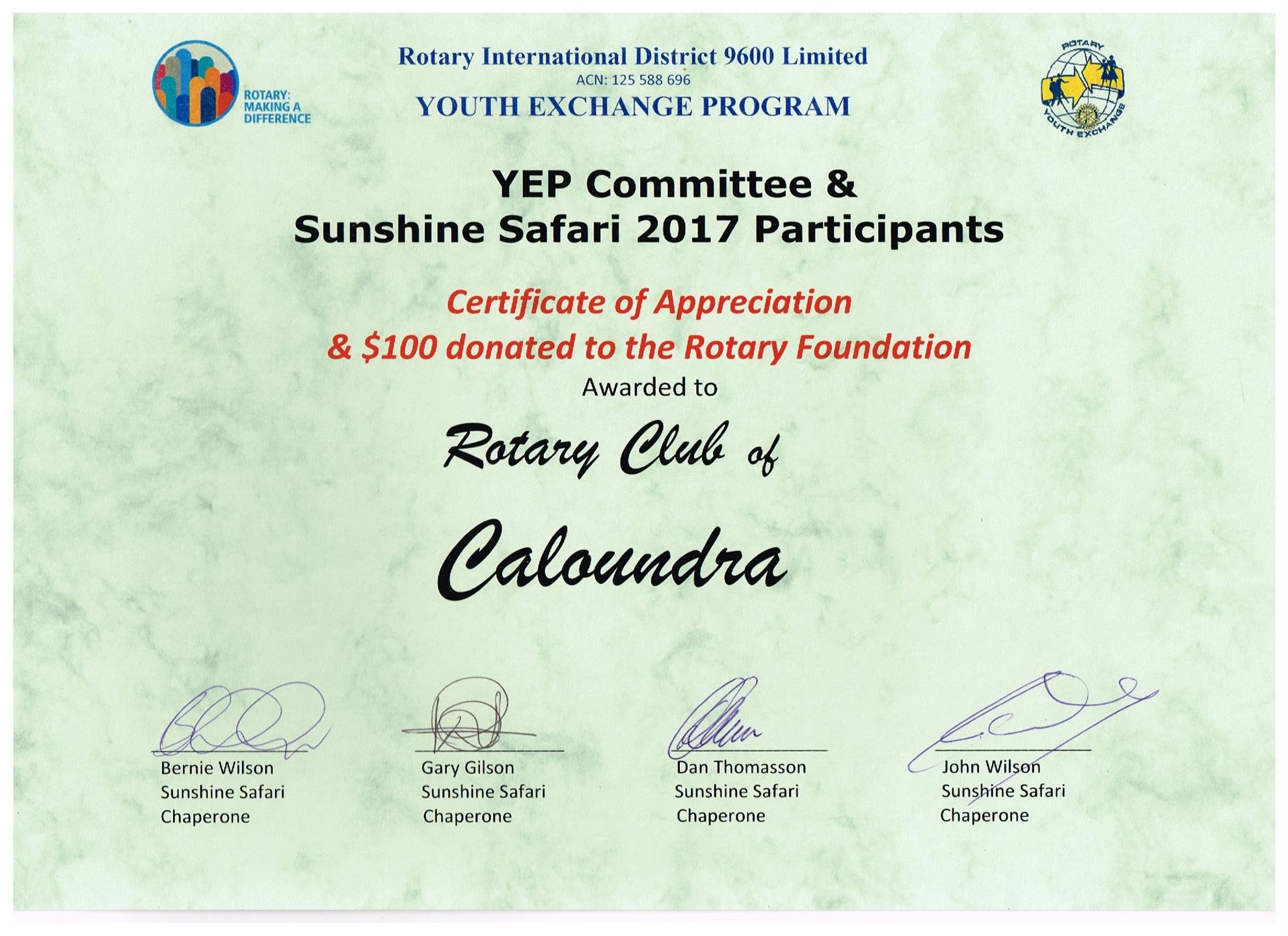 Thank you from rotary youth exchange rotary club of for Rotary certificate of appreciation template