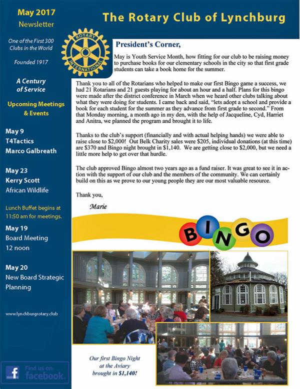 Our Monthly Newsletter | Rotary Club Of Lynchburg