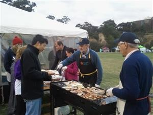 Club members cooked a hearty egg and bacon breakfast for the weary participants who had been walking all night in the Cancer Council Relay for Life.