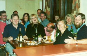 Weekend at Mount Hotham, 1992: (L-R) Ian Mellett, Peter Evans, Helen Stevens, June Pyke, John Richards, John Pyke, Neil Shepherd, Rosemary Vaarzon-Morel, Chris Mellett, Cathy Evans, Alan Stevens.