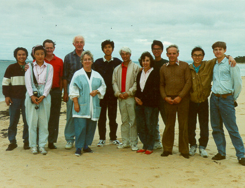 Outing for recently arrived International House students, Phillip Island, 1992. Host Rotarians and partners: Peter Evans, John De Ravin, Barbara Coopes, Alfred Ong, Anne Ong and Alan Farrington.
