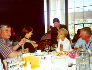 At year 2000 District Conference in Canberra, admiring the International Service trophy presented to Canterbury at the Conference: (L-R) David Proud, Marilyn Proud, Jill Keeffe, Beth Donkin, Trevor Donkin.