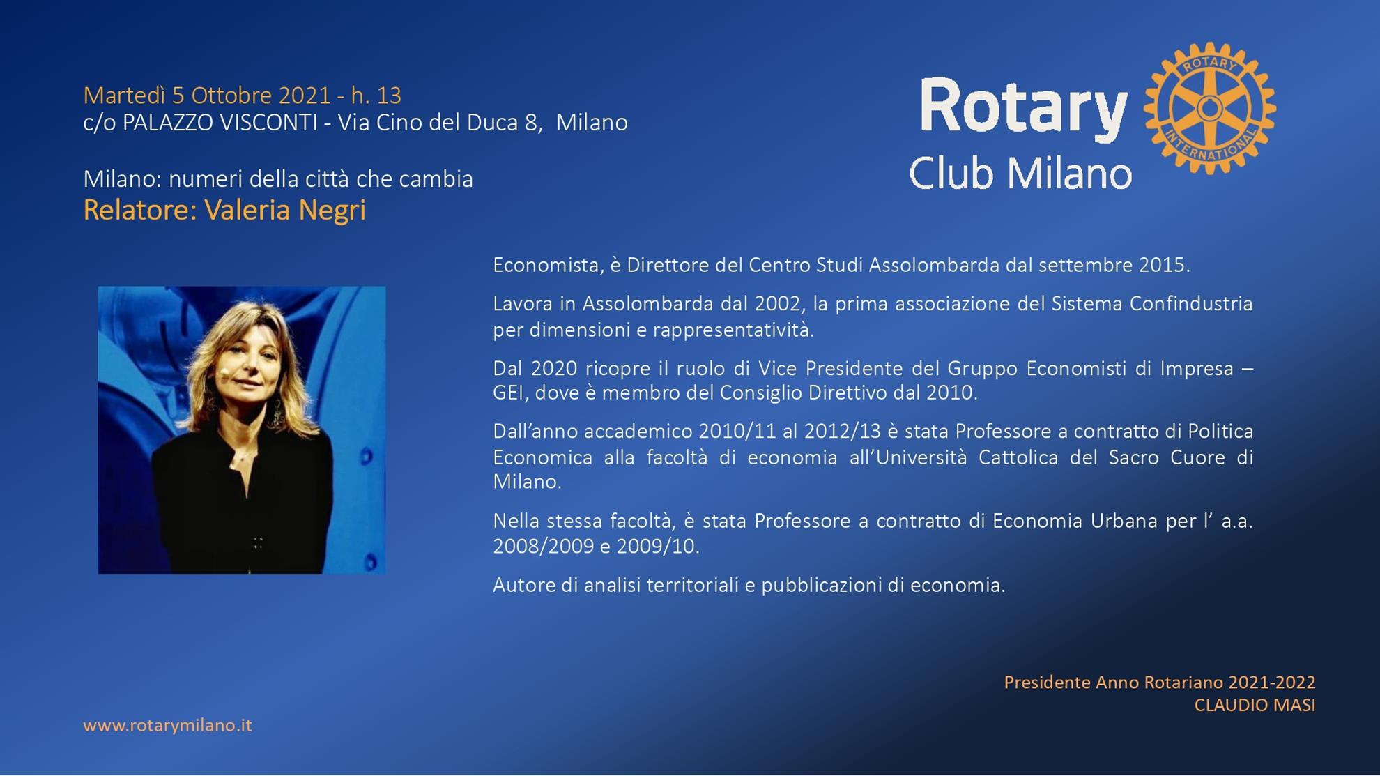 Valeria Negri - Assolombarda - Rotary Club Milano